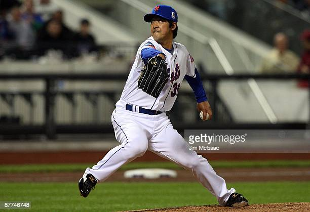 Ken Takahashi of the New York Mets throws a pitch against the Atlanta Braves on May 12 2009 at Citi Field in the Flushing neighborhood of the Queens...
