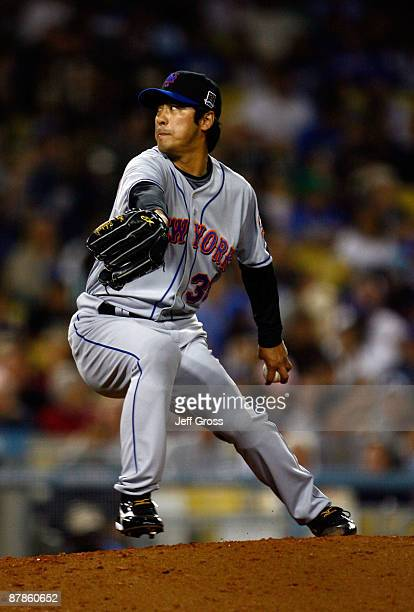 Ken Takahashi of the New York Mets throws a pitch against the Los Angeles Dodgers in the sixth inning at Dodger Stadium on May 19 2009 in Los Angeles...