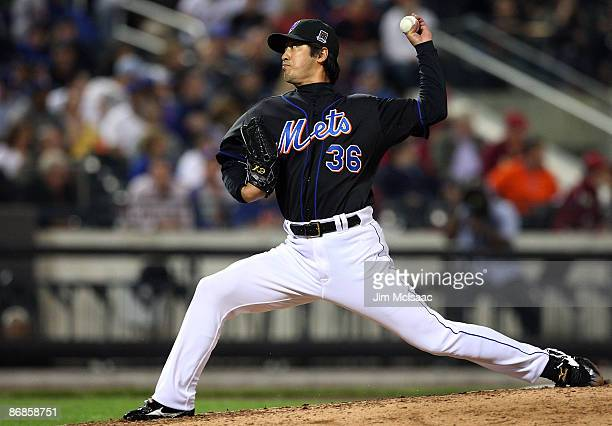 Ken Takahashi of the New York Mets throws a pitch against the Pittsburgh Pirates on May 8 2009 at Citi Field in the Flushing neighborhood of the...