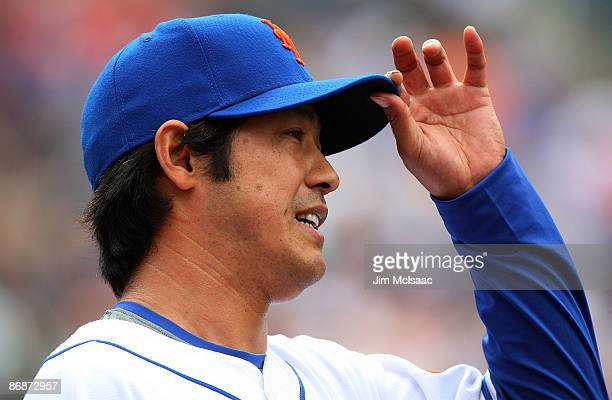 Ken Takahashi of the New York Mets tips his cap after teammate Gary Sheffield made a catch against the Pittsburgh Pirates on May 9 2009 at Citi Field...
