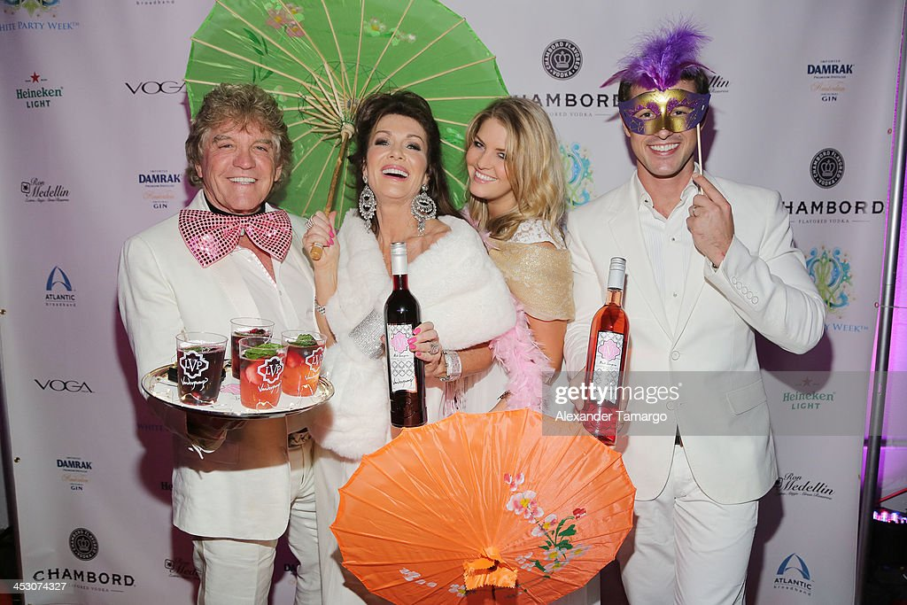 Ken Todd, Lisa Vanderpump, Pandora Vanderpump-Sabo and Jason Sabo debut LVP sangria at The White Party in Miami and help raise awareness for HIV/AIDS at Soho Studios on November 30, 2013 in Miami, Florida.
