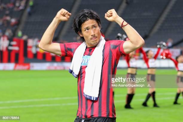 Ken Tokura of Consadole Sapporo celebrates his side's 10 victory in the JLeague J1 match between Consadole Sapporo and Shimizu SPulse at Sappaoro...