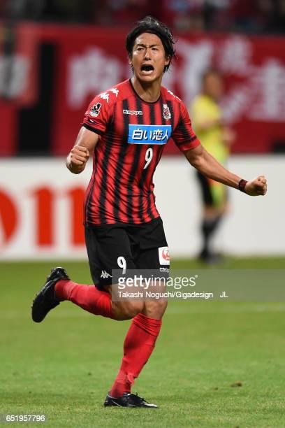 Ken Tokura of Consadole Sapporo celebrates scoring his side's first goal during the JLeague J1 match between Consadole Sapporo and Cerezo Osaka at...