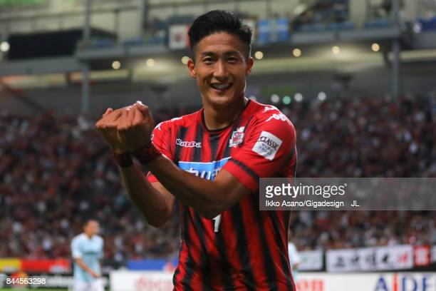 Ken Tokura of Consadole Sapporo celebrates scoring his side's first goal during the JLeague J1 match between Consadole Sapporo and Jubilo Iwata at...