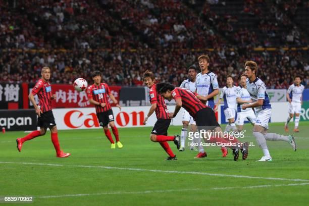 Ken Tokura of Consadole Sapporo heads the ball during the JLeague J1 match between Consadole Sapporo and Gamba Osaka at Sapporo Dome on May 14 2017...