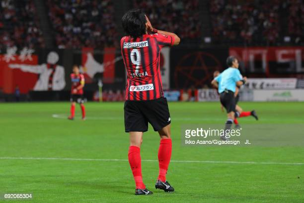 Ken Tokura of Consadole Sapporo reacts during the JLeague J1 match between Consadore Sapporo and Vissel Kobe at Sapporo Dome on June 4 2017 in...