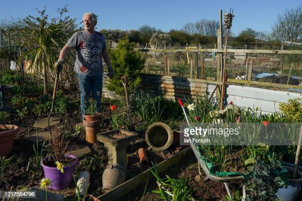 Ken Treloar tends to his allotment and follows government guidelines on social distancing and time restrictions on April 08, 2020 in Saltburn By The...