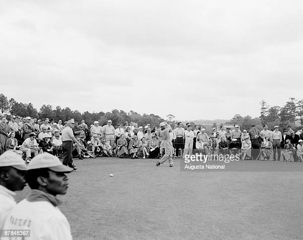 Ken Venturi tees off during the 1956 Masters Tournament at Augusta National Golf Club on April 6 1956 in Augusta Georgia