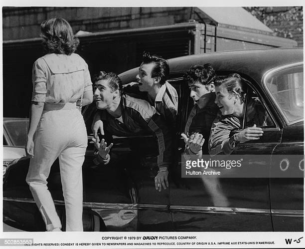 Ken Wahl John Friedrich Alan Rosenberg yells to a girl in a scene from the Orion movie The Wanderers circa 1979