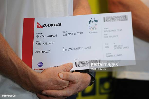 Ken Wallace holds his QANTAS boarding pass during the Australian Canoe/KayakSprint 2016 Olympic Games Team Announcement at Mermaid Beach on March 16...