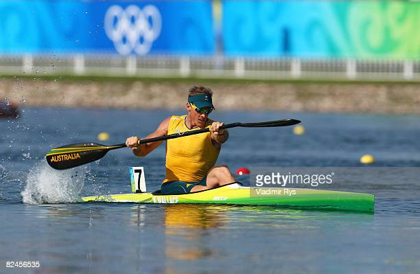 Ken Wallace of Australia competes in his heat of the Flatwater Men's K1 500m kayak flatwater event at the Shunyi Olympic RowingCanoeing Park on Day...