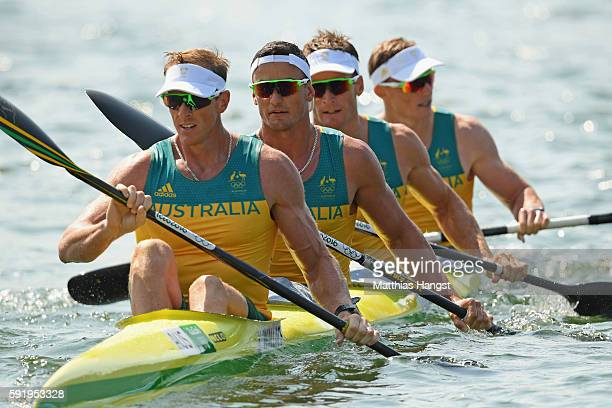 Ken Wallace Riley Fitzsimmons Jacob Clear and Jordan Wood compete in the Men's Kayak Four 1000m on Day 14 of the Rio 2016 Olympic Games at the Lagoa...