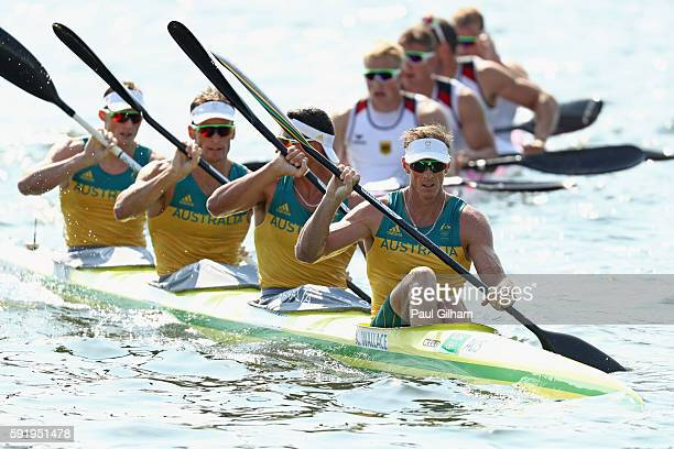 Ken Wallace Riley Fitzsimmons Jacob Clear and Jordan Wood of Australia compete in the Men's Kayak Four 1000m on Day 14 of the Rio 2016 Olympic Games...