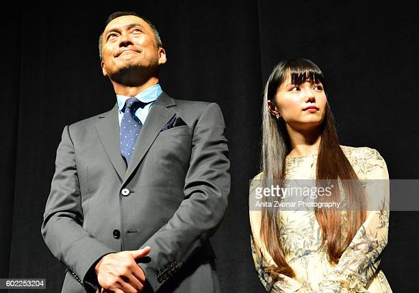 Ken Watanabe and Aoi Miyazaki attend the Rage premiere at The Elgin on September 10 2016 in Toronto Canada