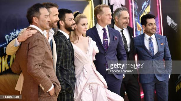 Ken Watanabe Ryan Reynolds Justice Smith Kathryn Newton Chris Geere Rob Letterman and Omar Chaparro attend the premiere of Pokemon Detective Pikachu...