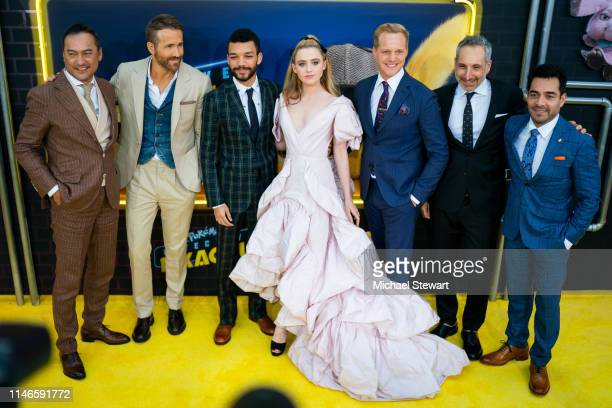 Ken Watanabe Ryan Reynolds Justice Smith Kathryn Newton Chris Geere Rob Letterman and Omar Chaparro attend the 'Pokemon Detective Pikachu' US...