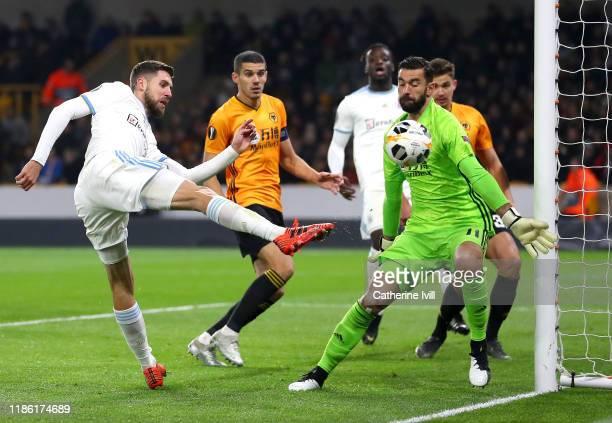 Kenan Bajric of Slovan Bratislava sees his shot saved by Rui Patricio of Wolverhampton Wanderers during the UEFA Europa League group K match between...