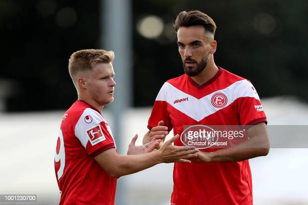 Kenan Karaman of Duesseldorf celebrates the first goal with Jean Zimmer of Duesseldorf during the Pre Season Friendly match between FC WegbergBeeck...