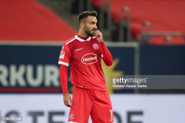 Kenan Karaman of Fortuna Duesseldorf reacts during the Second Bundesliga match between Fortuna Düsseldorf and 1. FC Heidenheim 1846 at Merkur...