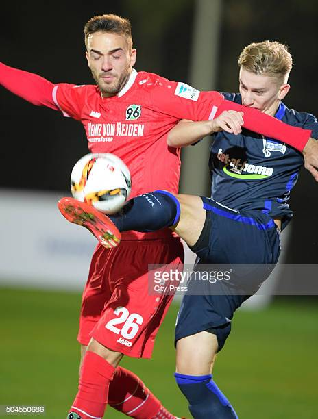 Kenan Karaman of Hannover 96 and Sinan Kurt of Hertha BSC during the friendly match between Hertha BSC against Hannover 96 on January 11 2016 in...