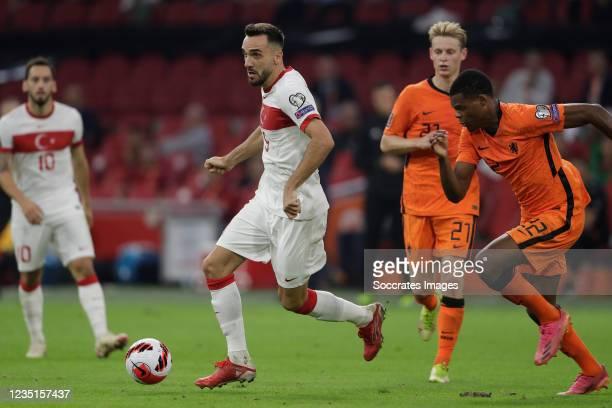 Kenan Karaman of Turkey, Denzel Dumfries of Holland during the World Cup Qualifier match between Holland v Turkey at the Johan Cruijff Arena on...