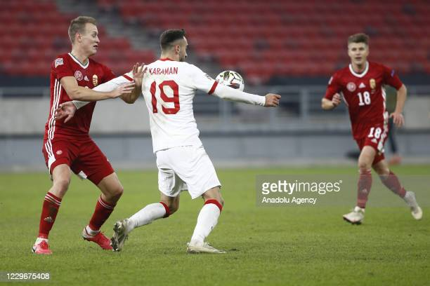 Kenan Karaman of Turkey in action during the UEFA Nations League match between Hungary and Turkey at Puskas Arena in Budapest, Hungary on November...