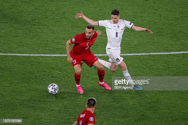 Kenan Karaman of Turkey, Jorginho of Italy during the UEFA Euro 2020 Group A match between Turkey and Italy at Stadio Olympico on June 11, 2021 in...