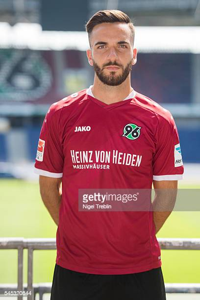 Kenan Karaman poses during the team presentation of Hannover 96 on July 7 2016 in Hanover Germany