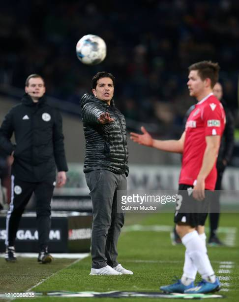 Kenan Kocak, head coach of Hannover 96 gestures during the Second Bundesliga match between Hannover 96 and Holstein Kiel at HDI-Arena on March 02,...