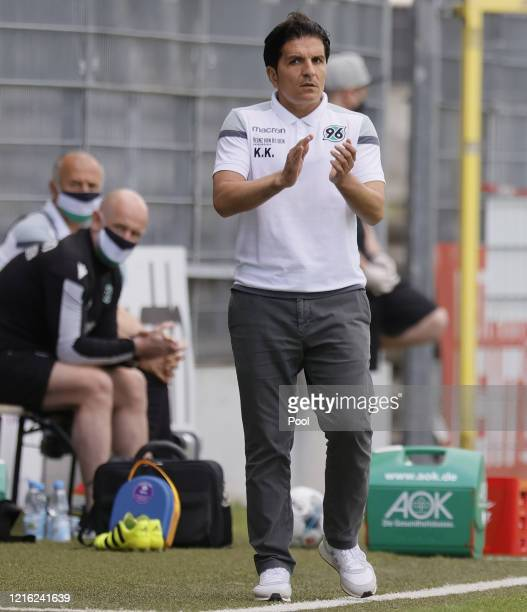 Kenan Kocak Manager of Hannover reacts during the Second Bundesliga match between SV Sandhausen and Hannover 96 at BWTStadion am Hardtwald on May 30...