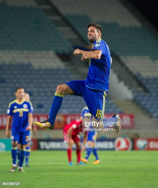 Kenan Kodro celebrates after scoring his team's 2nd goal during FIFA 2018 World Cup Qualifier between Gibraltar and Bosnia and Herzegovina at Estadio...