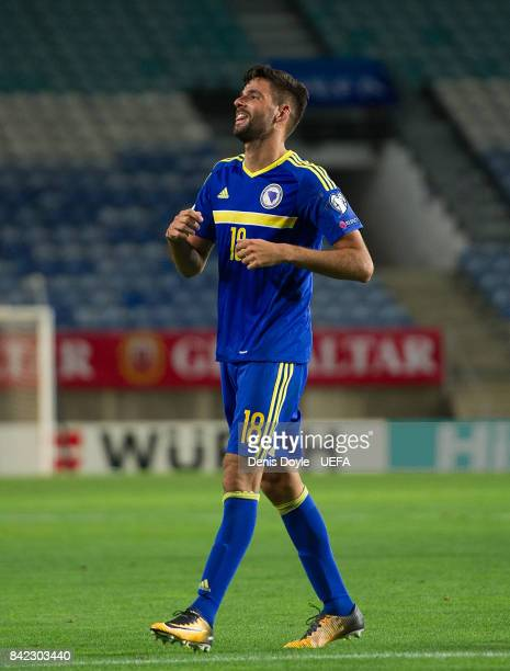 Kenan Kodro celebrates after scoring his teamÕs 2nd goal during FIFA 2018 World Cup Qualifier between Gibraltar and Bosnia and Herzegovina at Estadio...