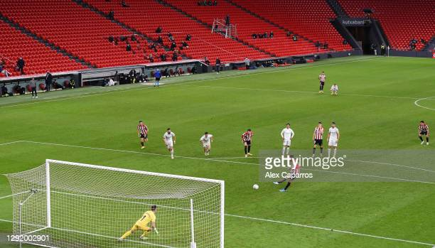 Kenan Kodro of Athletic Bilbao scores their team's first goal from a penalty during the La Liga Santander match between Athletic Club and SD Huesca...