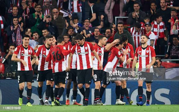 Kenan Kodro of Athletic Club celebrates after scoring his team's second goal during the La Liga match between Athletic Club and Club Atletico de...
