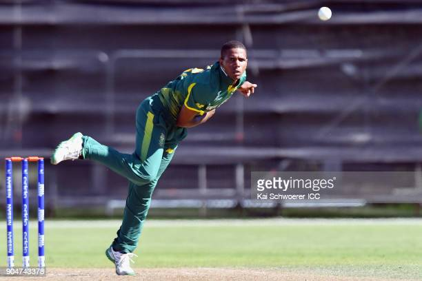 Kenan Smith of South Africa bowls during the ICC U19 Cricket World Cup match between South Africa and Kenya at Lincoln Green on January 14 2018 in...
