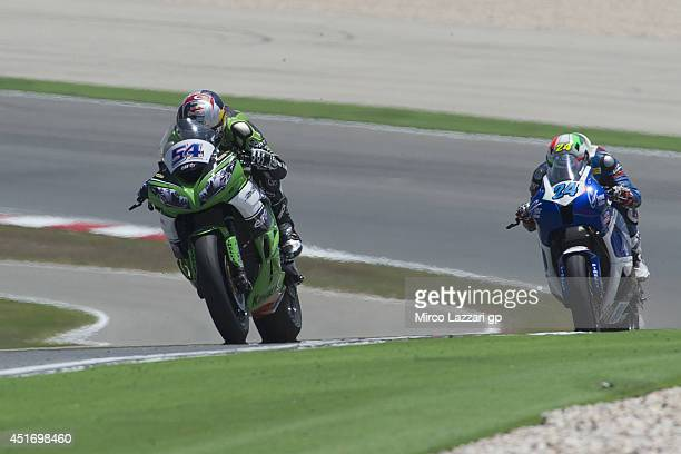 Kenan Sofoglu of Turkey and MAHI Racing Team India leads the field during the FIM Supersport World Championship Free Practice at Portimao Circuit on...