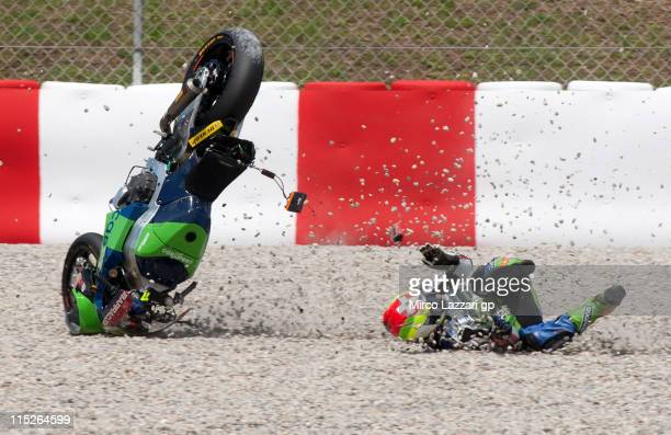 Kenan Sofoglu of Turkey and Technomag-cip crashed out during the Moto2 race of MotoGP of Catalunya at Circuit de Catalunya on June 5, 2011 in...