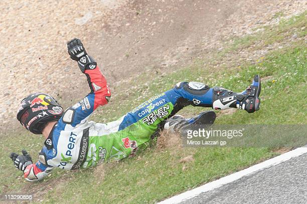 Kenan Sofoglu of Turkey and Technomagcip crashed out during the qualifying practice of MotoGP of Portugal in Estoril Circuit on April 30 2011 in...