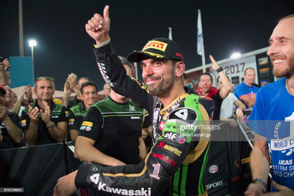 Kenan Sofuoglu of Turkey and Kawasaki Puccetti Racing celebrates the third place during the Supersport race during the FIM Superbike World Championship in Qatar - Race 2 at Losail Circuit on November 4, 2017 in Doha, Qatar.