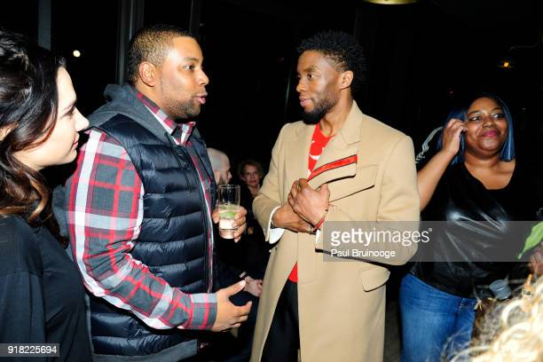 Kenan Thompson and Chadwick Boseman attend The Cinema Society with Ravage Wines Synchrony host the after party for Marvel Studios' 'Black Panther' at...