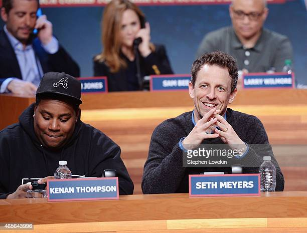 Kenan Thompson and Seth Meyers attend The Night Of Too Many Start Live Telethon on March 8 2015 in New York City