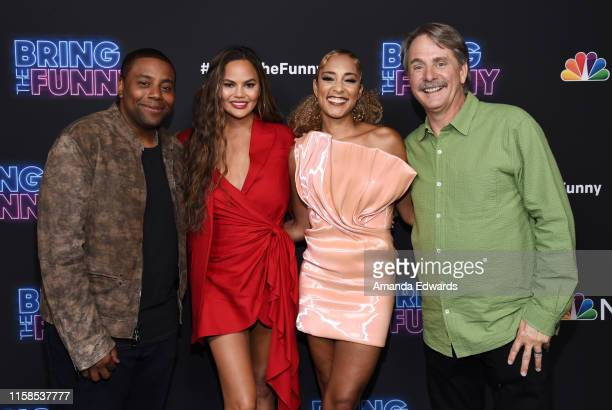 Kenan Thompson Chrissy Teigen Amanda Seales and Jeff Foxworthy arrive at the premiere of NBC's Bring The Funny at Rockwell Table Stage on June 26...