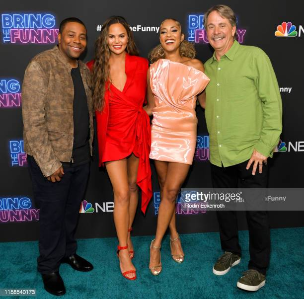 Kenan Thompson Chrissy Teigen Amanda Seales and Jeff Foxworthy attend the premiere of NBC's Bring The Funny at Rockwell Table Stage on June 26 2019...