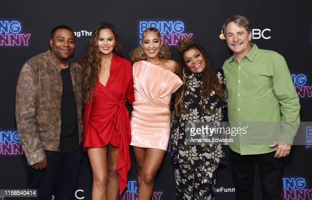Kenan Thompson Chrissy Teigen Amanda Seales Yvette Nicole Brown and Jeff Foxworthy arrive at the premiere of NBC's Bring The Funny at Rockwell Table...