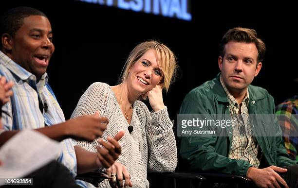 Kenan Thompson Kristen Wiig and Jason Sudeikis during the 2010 New Yorker Festival at Acura at SIR Stage37 on October 3 2010 in New York City