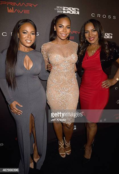 Kenashia Douglas singer Ashanti and Tina Douglas attend the Primary Wave 9th Annual PreGrammy Party at RivaBella on February 7 2015 in West Hollywood...