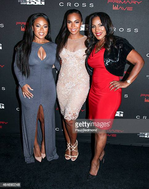 Kenashia Douglas singer Ashanti and Tina Douglas attending Primary Wave 9th Annual PreGrammy Prty at RivaBella on February 7 2015 in West Hollywood...