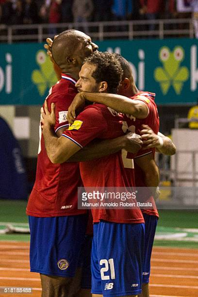 Kendal Watson and Marco Ureña celebrate the third goal of their team during the match between Costa Rica and Jamaica as part of the FIFA 2018 World...