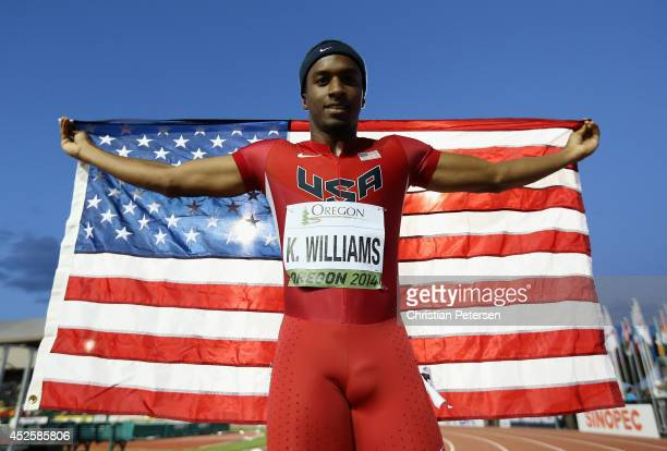 Kendal Williams of USA celebrates after winning the men's 100m during day two of the IAAF World Junior Championships at Hayward Field on July 23 2014...
