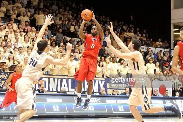 Kendall Anthony of the Richmond Spiders takes a jump shot during a college basketball game against the George Washington Colonials at the Smith...